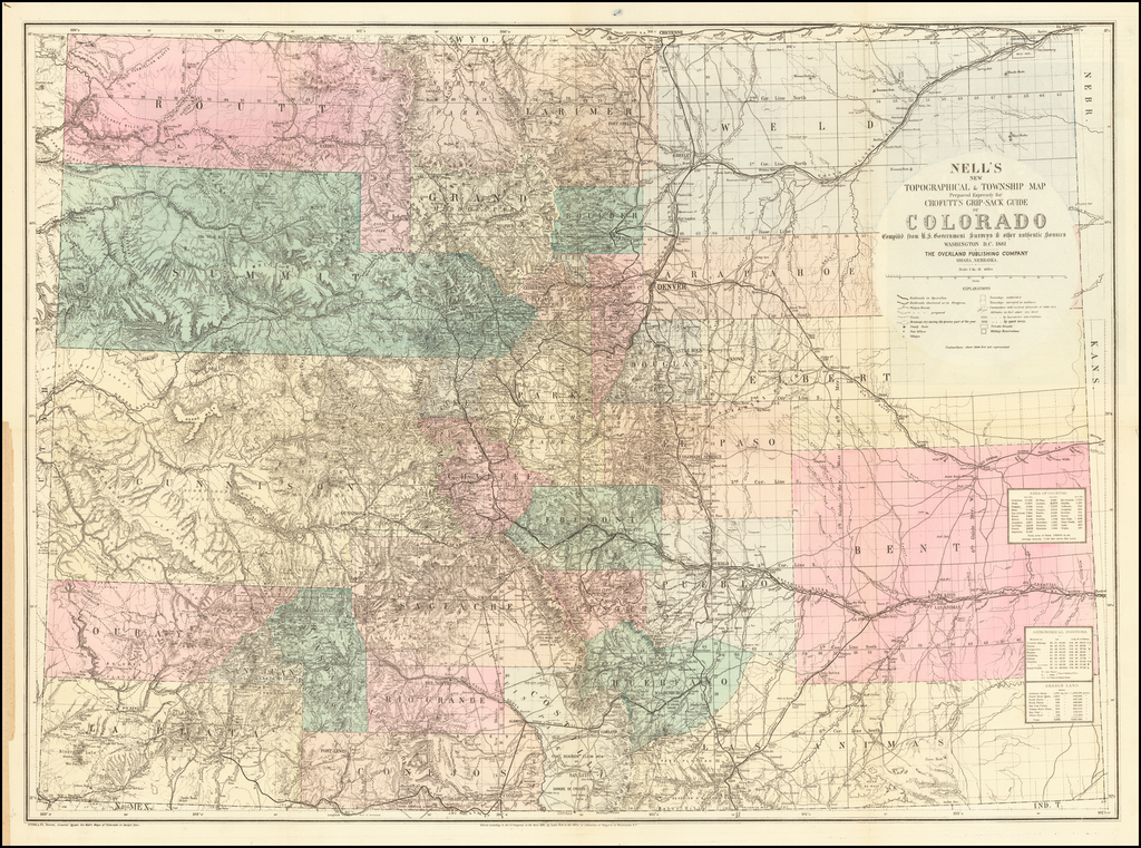 Nell's New Topographical & Township Map Prepared Expressly for Crofutt's Grip-Sack Guide of Colorado Compiled from U.S. Government Surveys & other authentic Sources . . . 1881.  (With Crofott's Grip-Sack Guide of Colorado . . . ) By Louis Nell