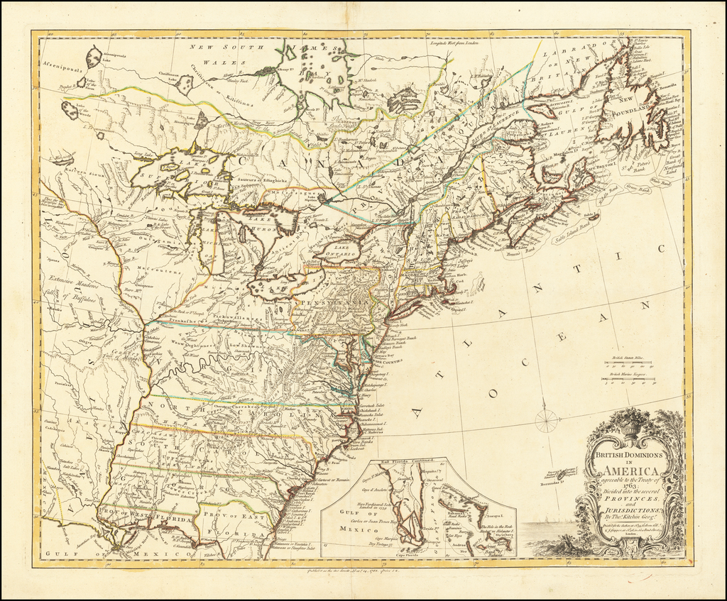 British Dominions in America agreeable to the Treaty of 1763; Divided into several Provinces and Jurisdictions, By Thos. Kitchin Geogr. By Thomas Kitchin