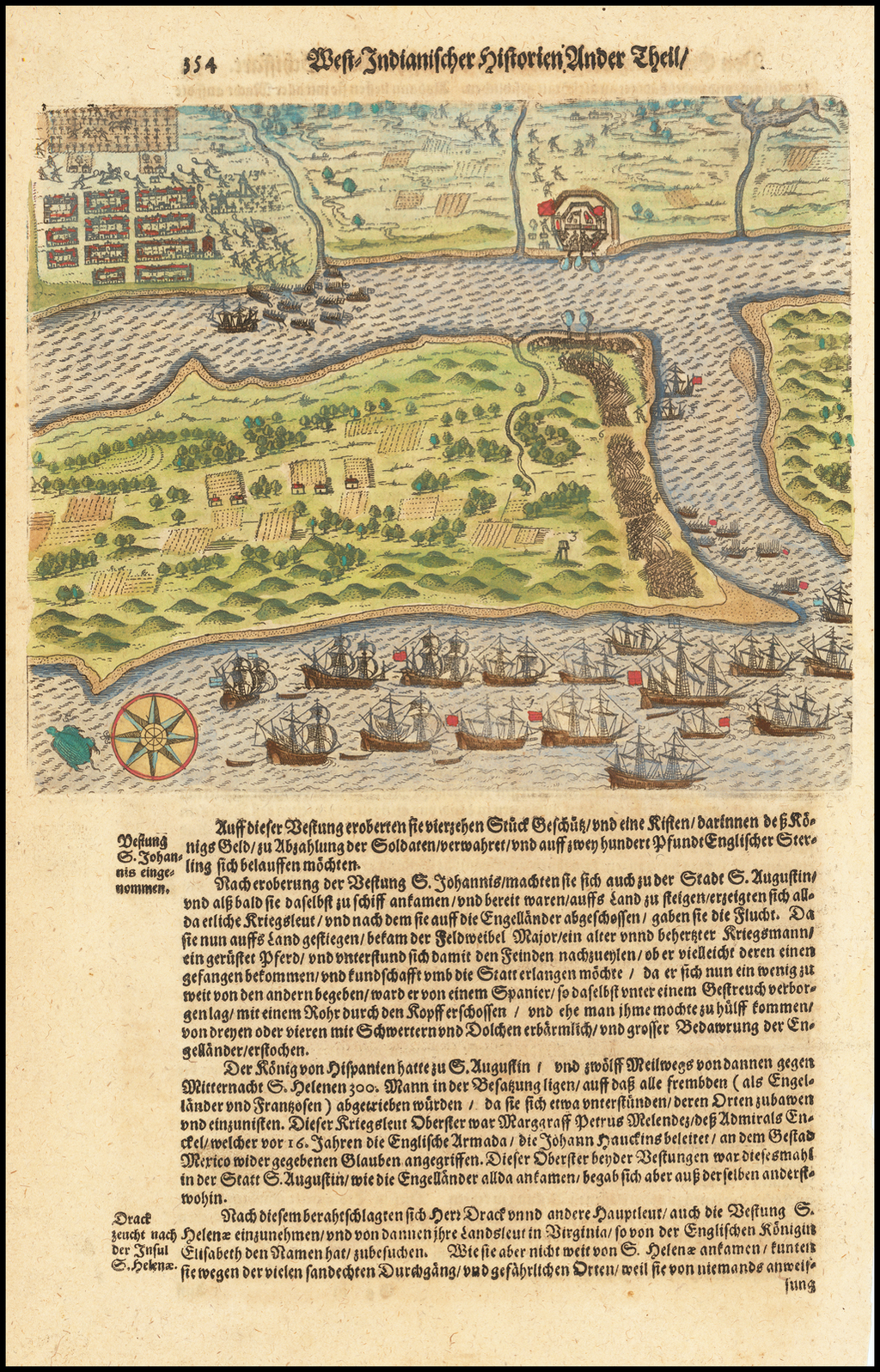 [Drake's Attack on St. Augustine, Florida.] By Theodor De Bry