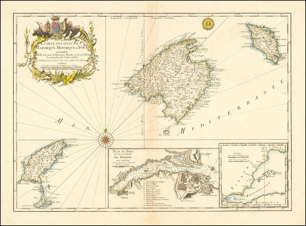 Carte Des Isles De Maiorque Minorque et Yvice By Jacques Nicolas Bellin