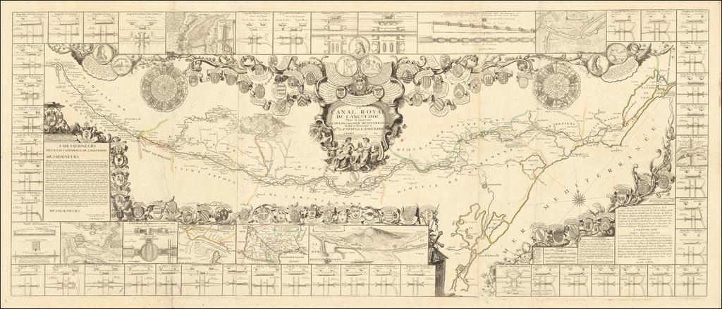 Le Canal Royal de Languedoc Pour la Ionction L'Ocean et de la Mer Mediterrane . . . 1697 By Jean-Baptiste Nolin