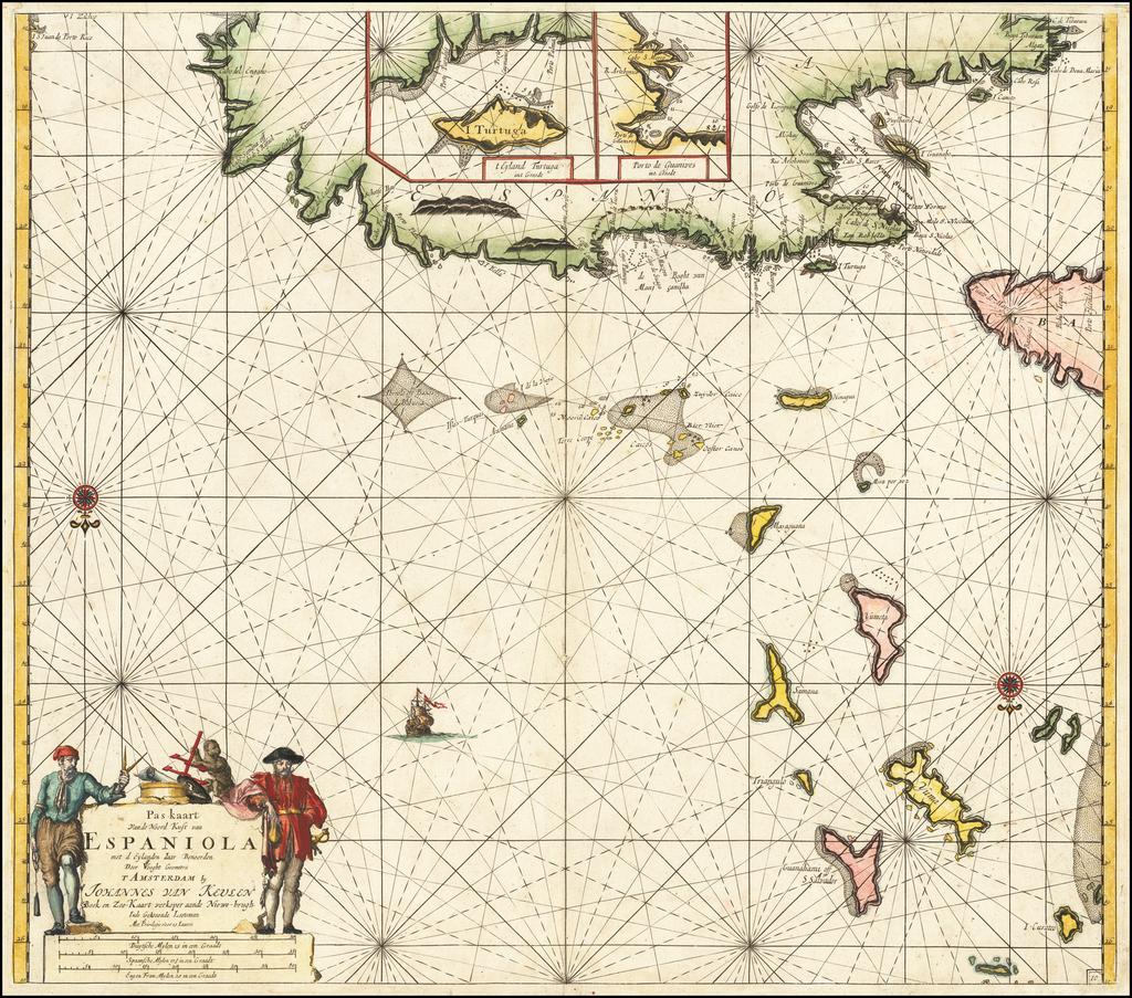 [Santa Domingo, Turks & Caicos, Bahamas]  Pas kaart Van de Noord Kust van Espaniola met d Eylanden daar Benoorden. . .  By Johannes Van Keulen