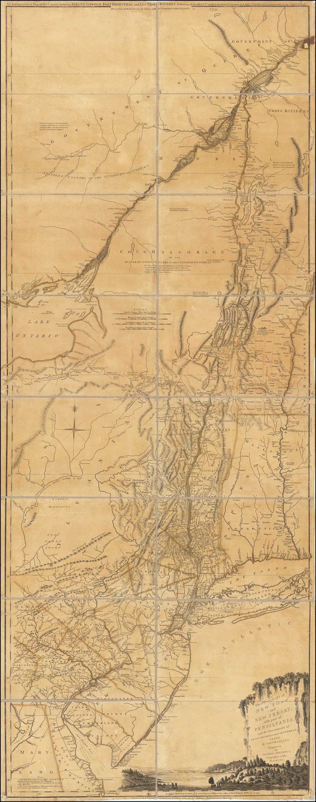 The Provinces of New York, and New Jersey; with part of Pensilvania, and the Governments of Trois Rivieres, and Montreal; Drawn by Capt. Holland. Engraved by Thomas Jefferys, Geographer to His Majest. By Sayer & Bennett