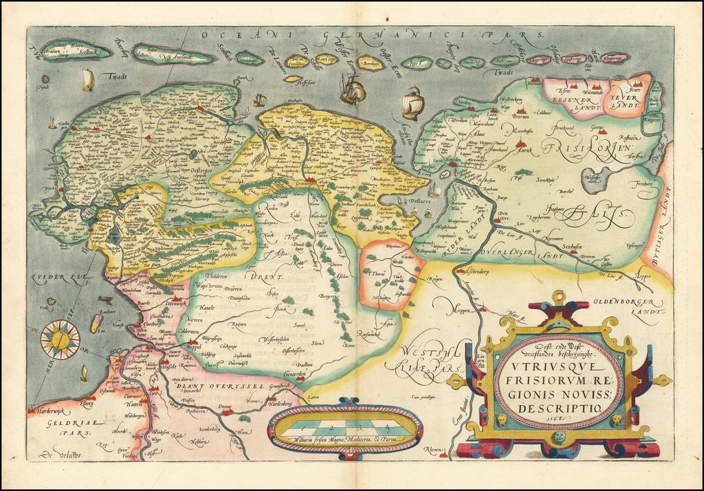 Oost ende West Vrieslandts beschryvinghe Utriusque Frisiorum Regionis Noviss Descriptio 1568 By Abraham Ortelius