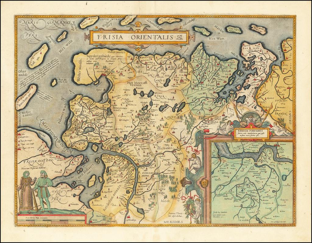 Frisia Orientalis   By Abraham Ortelius