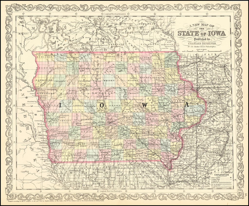A New Map Of The State Of Iowa . . . By Charles Desilver