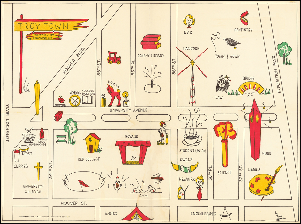 (USC Pictorial Map) Troy Town Presented by Trojan Amazons By Pollie Mitchell / Litho-Art Printing Company