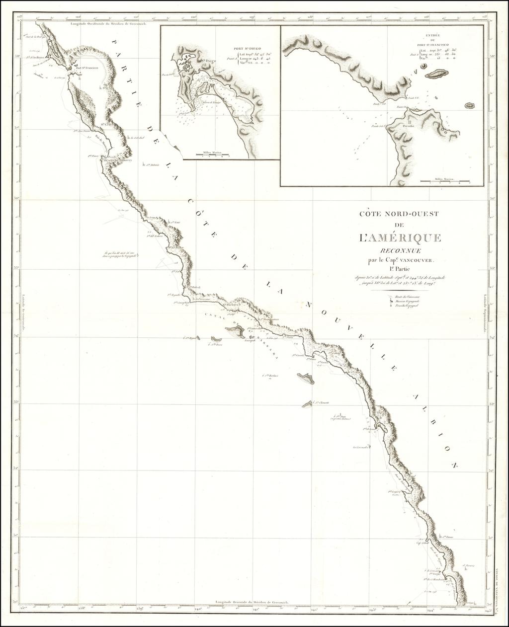 [San Francisco to Central Baja]  Cote Nord-Ouest De L'Amerique Reconnue par le Cape. Vancouver Ie. Partie . . .  By Capt. George Vancouver
