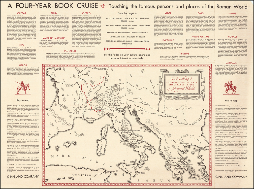 A Map Showing Some Places of Importance in the Roman World  |  A Four Year Book Cruise By Ginn and Company