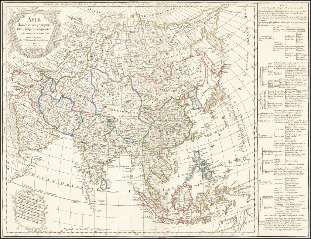 Asie divisee en ses principaux Etats, Empires & Royaumes . . .  (See of Korea) By Charles Francois Delamarche