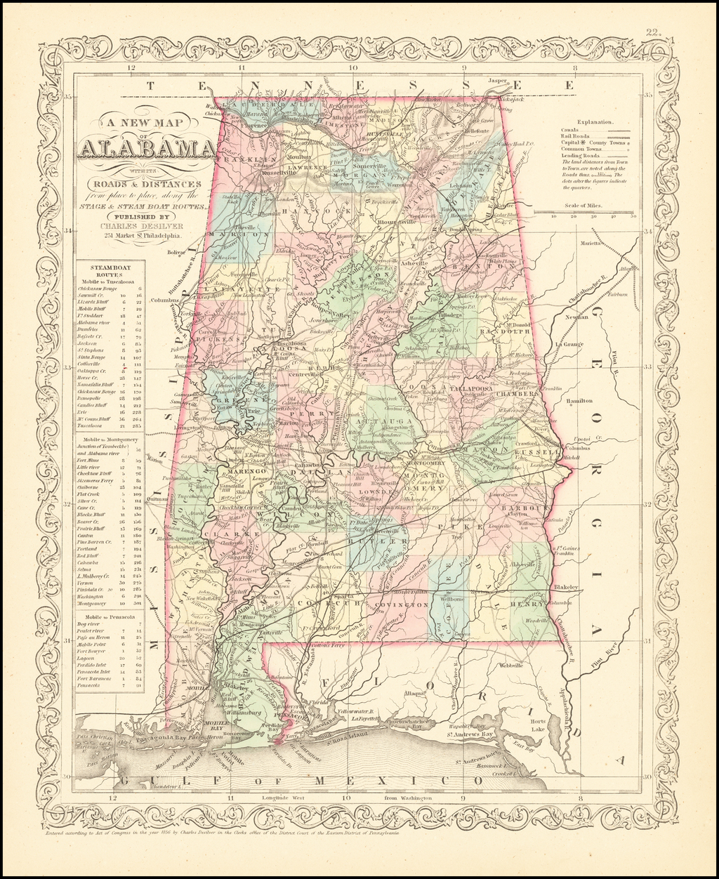 A New Map Of Alabama with its Canals, Roads, Distances from Place to Place, along the Stage & Steam Boat Routes  By Charles Desilver