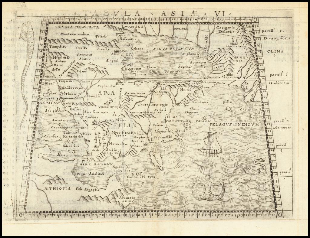 [Arabia] Tabula Asiae VI By Giacomo Gastaldi