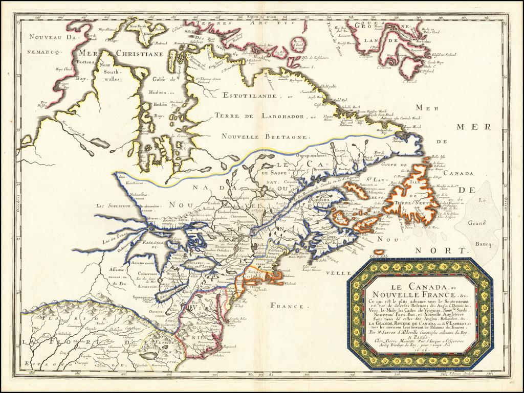 Le Canada ou Nouvelle France &c. Ce qui set les plus advance vers le Septenrion est tier de dives Relations des Anglois, Danois &c. . . . 1656 By Nicolas Sanson