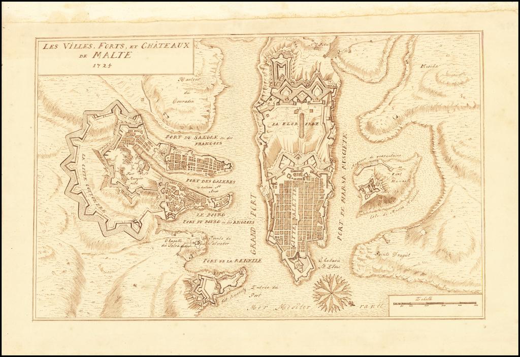 [Hand Drawn Map of Valletta] Les Villes, Forts, et Chateaux de Malte 1724 By Anonymous