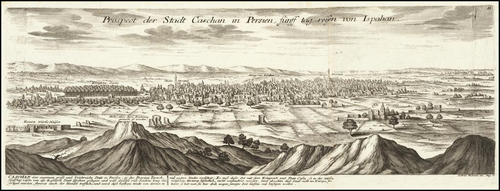 [Kashan] Prospect der Stadt Caschan in Persien sunff tag reisen von Ispahan By Gabriel Bodenehr
