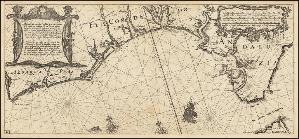 Afbeeldinghe der Zeecusten, tusschen de C. de S. Vincente en de Strate van Gibraltar: als een deel van Algarve, de groote Condaet, en de custen van Andalusien, vertoonende de rechte gelegentheijt aller Rivieren, Havenen, en Reeden aldaer geleghen:  Item alle Sanden, Bancken, Clippen ende Rudsen, diemen in't beseijlen derselver plaetsen te Schouwen en te mijde heeft By Willem Janszoon Blaeu
