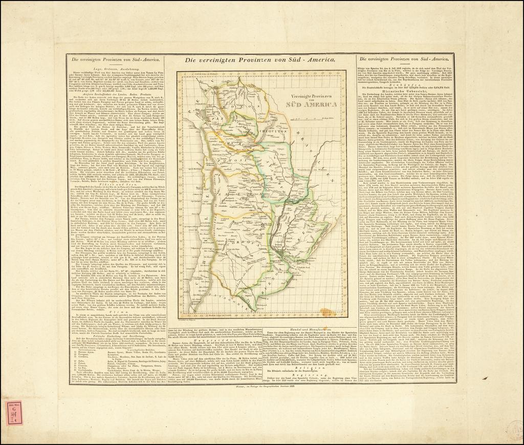 [Argentina]  Die vereinigten Provinzen von Sud-America By Carl Ferdinand Weiland