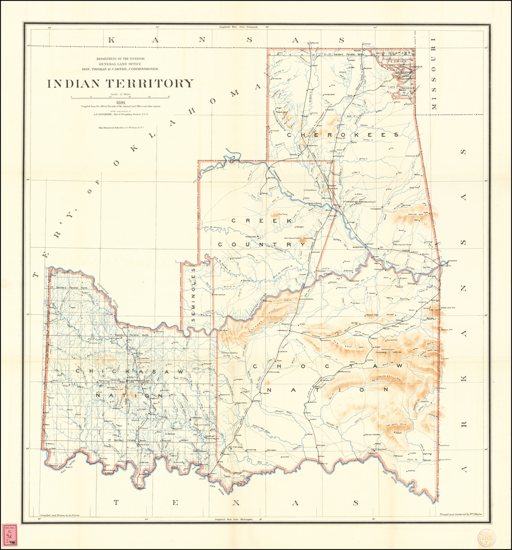 Indian Territory . . . 1891 By U.S. General Land Office