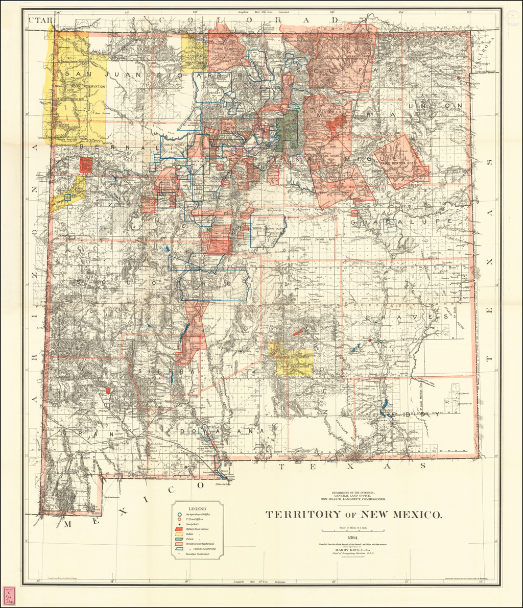 Territory of New Mexico . . . .1894.  Compiled from the official Records of the General Land Office. . . . By General Land Office