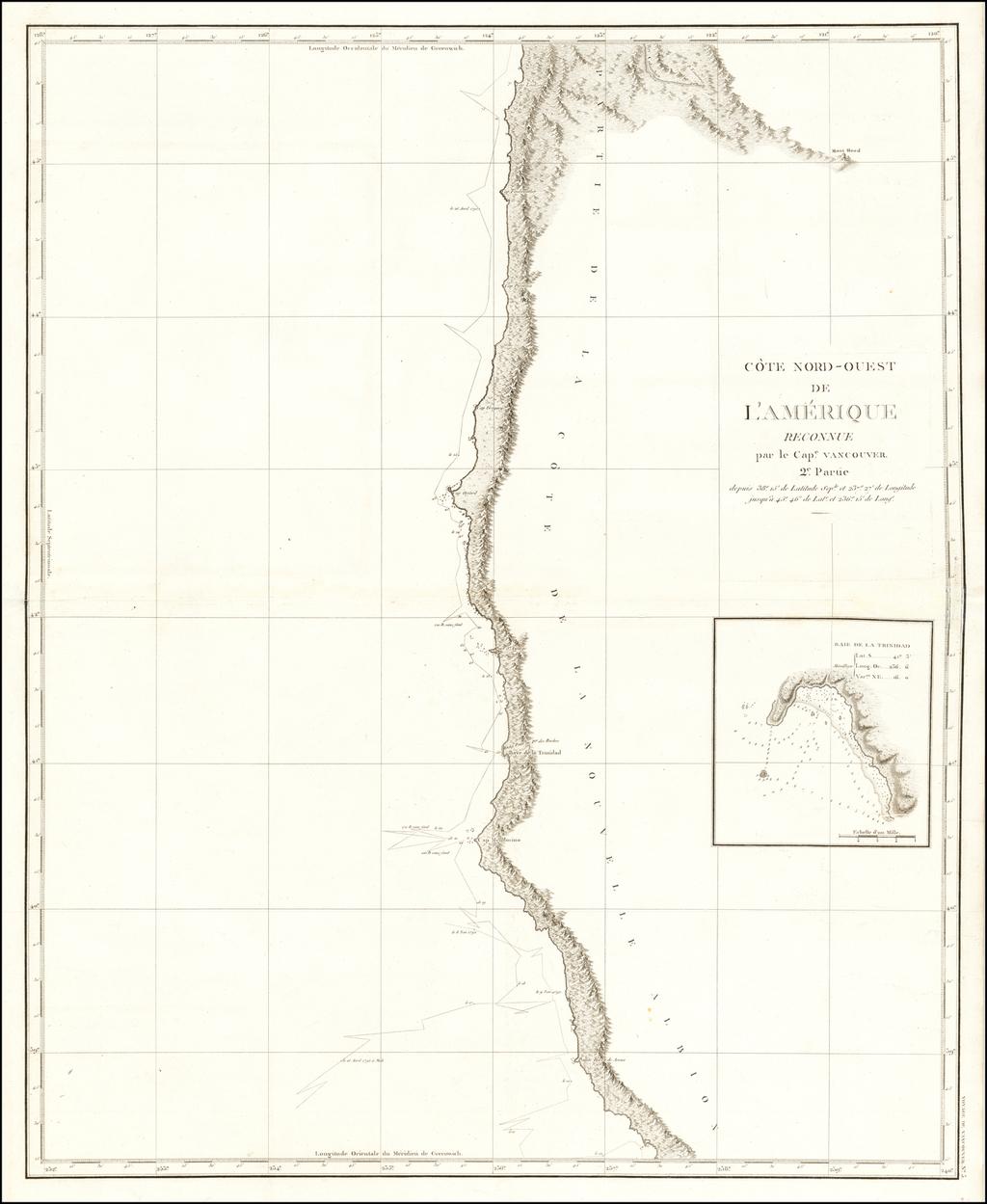 [Oregon to Bodega Bay]  Cote Nord-Ouest De L'Amerique Reconnue par Cape. Vancouver 2e. Partie . . .  By Capt. George Vancouver