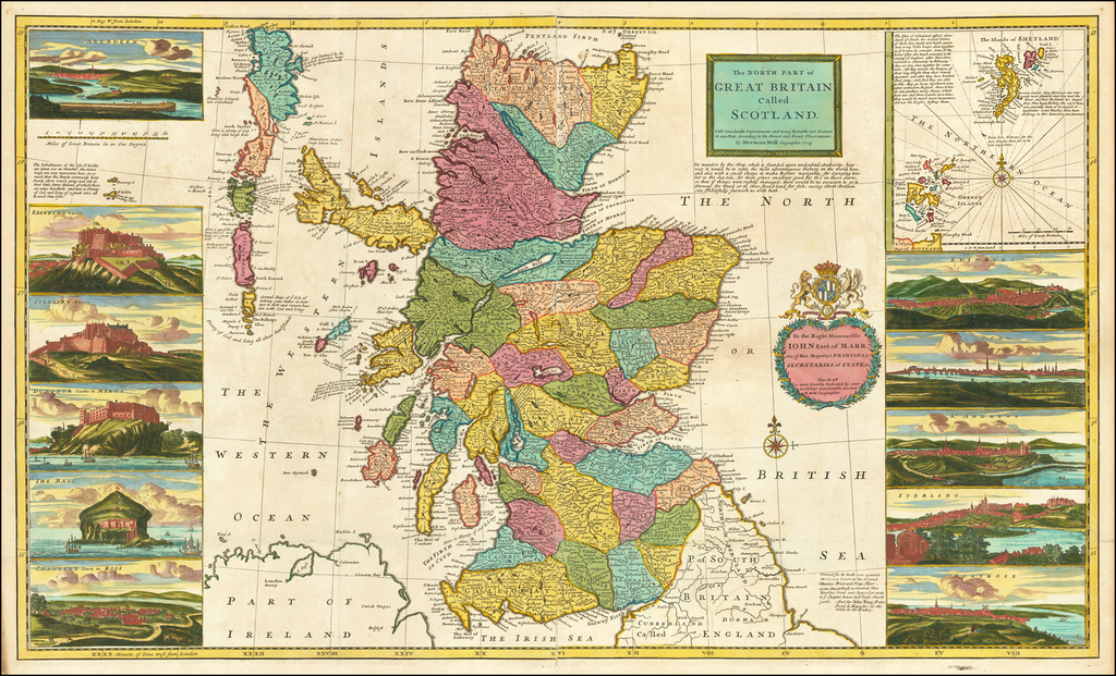 The North Part of Great Britain Called Scotland with Considerable Improvements and many Remarks not Extant in any Map . . . 1714 By Herman Moll