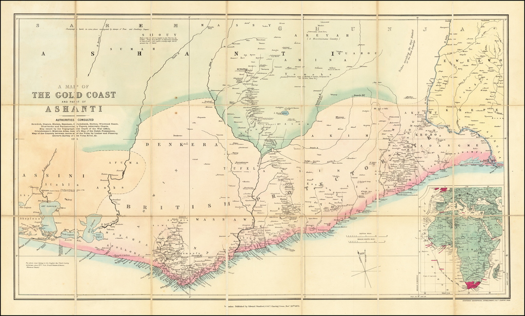 A Map of The Gold Coast and Part of Ashanti . . . 1873 By Edward Stanford