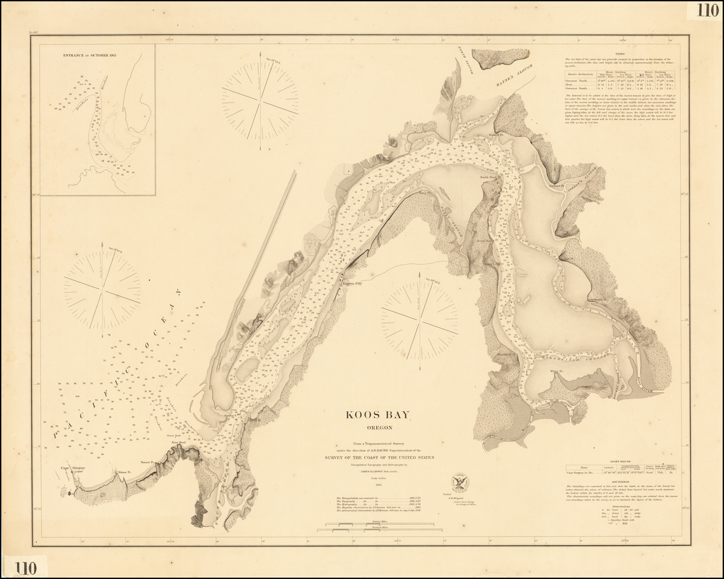 Koos Bay Oregon From a Trigonometrical Survey under the direction of A.D. Bache . . . 1865 By United States Coast Survey