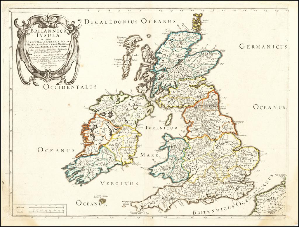 Britannicae insulae, in quibus Albium..., Iverni... tum et Orcades, Ebudes, Cassiterides... 1641 By Melchior Tavernier / Nicolas Sanson