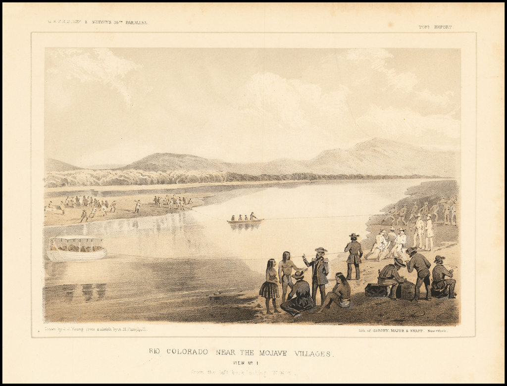 Rio Colorado Near The Mojave Villages.  View No. I from the left bank, looking W.N.W. By U.S. Pacific RR Survey