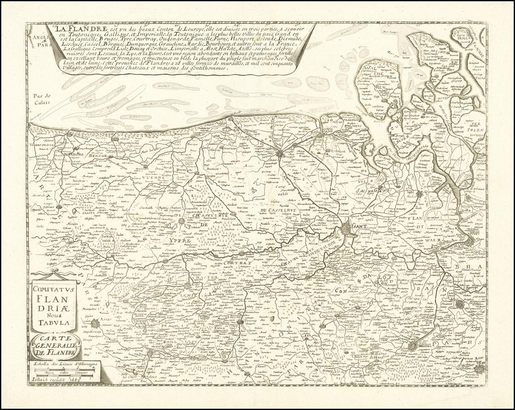 Comitatus Flandriae Nova Tabula  / Carte Generalle De Flandre . . . 1667 By Francois Jollain