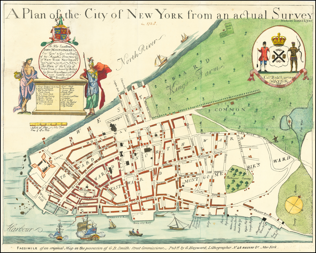 A Plan of The City of New York from an actual Survey By Valentine's Manual