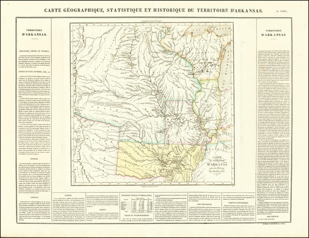 Carte Geographique, Statistique et Historique du Territoire D'Arkansas By Jean Alexandre Buchon
