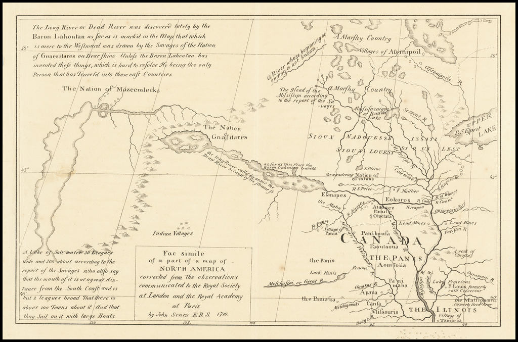 Facsimile of a part of a map of North America corrected from the observations communicated to the Royal Society at London and the Royal Academy at Paris.  By John Senex, F.R.S. 1710 By John Senex / Howard Stansbury