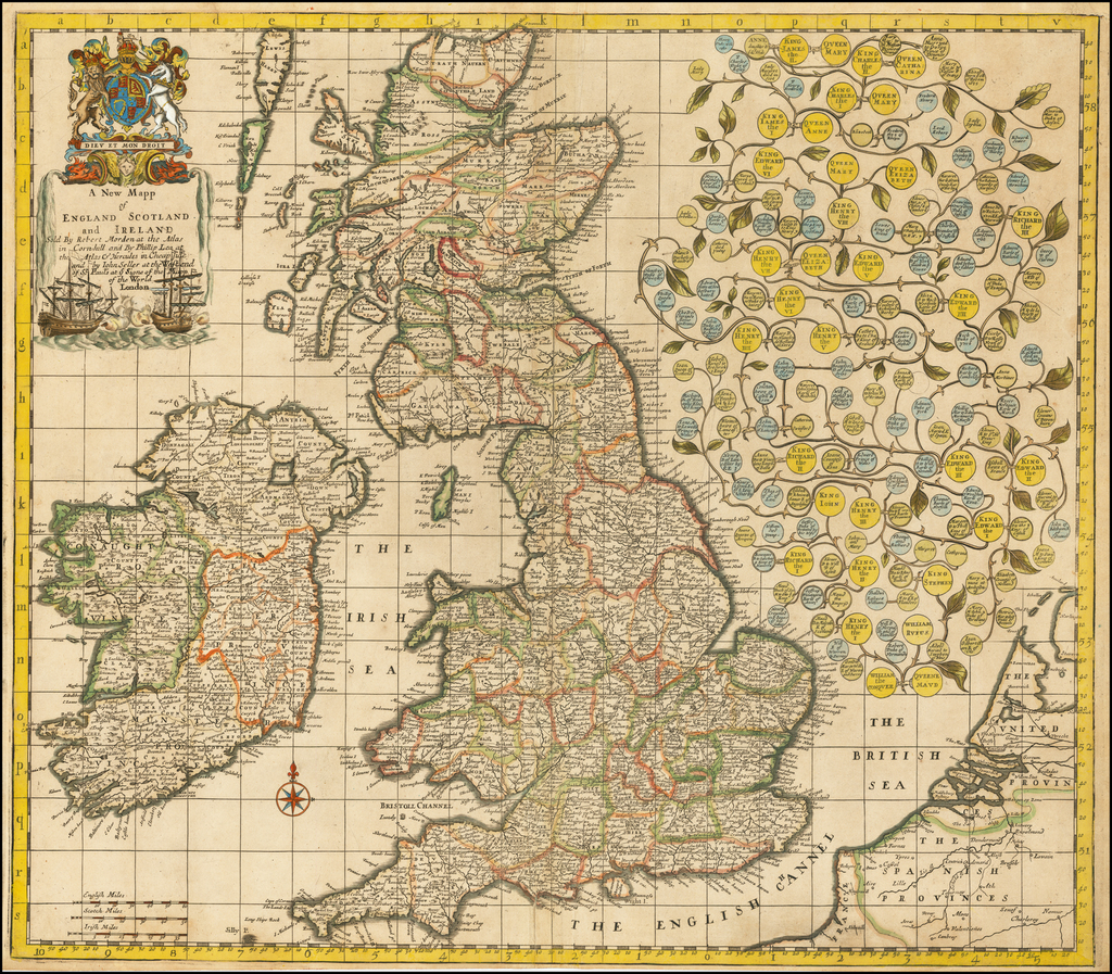 A New Mapp of England Scotland and Ireland Sold by Robert Morden at the Atlas in Cornhill and By Phillip Lea at the Atlas & Hercules in Cheapside and by Iohn Seller at the Westend of St. Paul's at ye Signe of the Mapp of the World By Robert Morden / Philip Lea / John Seller
