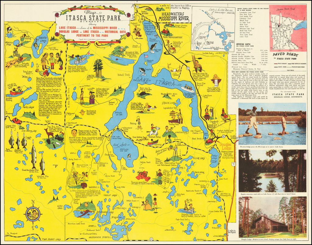 Map of Itasca State Park Minnesota By Frank Antoncich