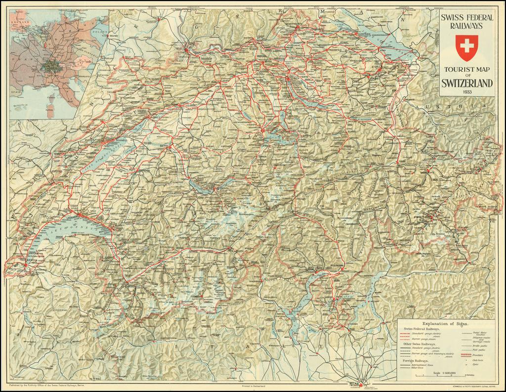 Swiss Federal Railways Tourist Map of Switzerland 1933 By Kummerly & Frey's Geographical Establishment