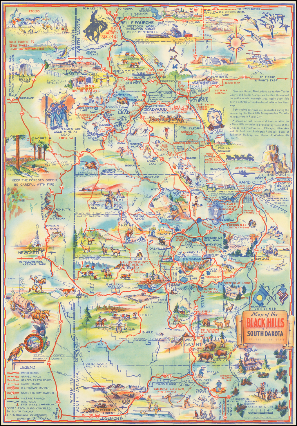 Map of the Black Hills of South Dakota The Sunshine State By K. Pyle