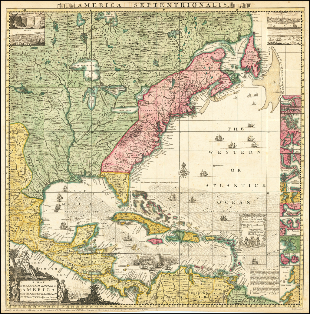 [Popple Key Sheet]  A Map of the British Empire in America with the French and Spanish Settlements adjacent thereto by Hen. Popple. By Henry Popple