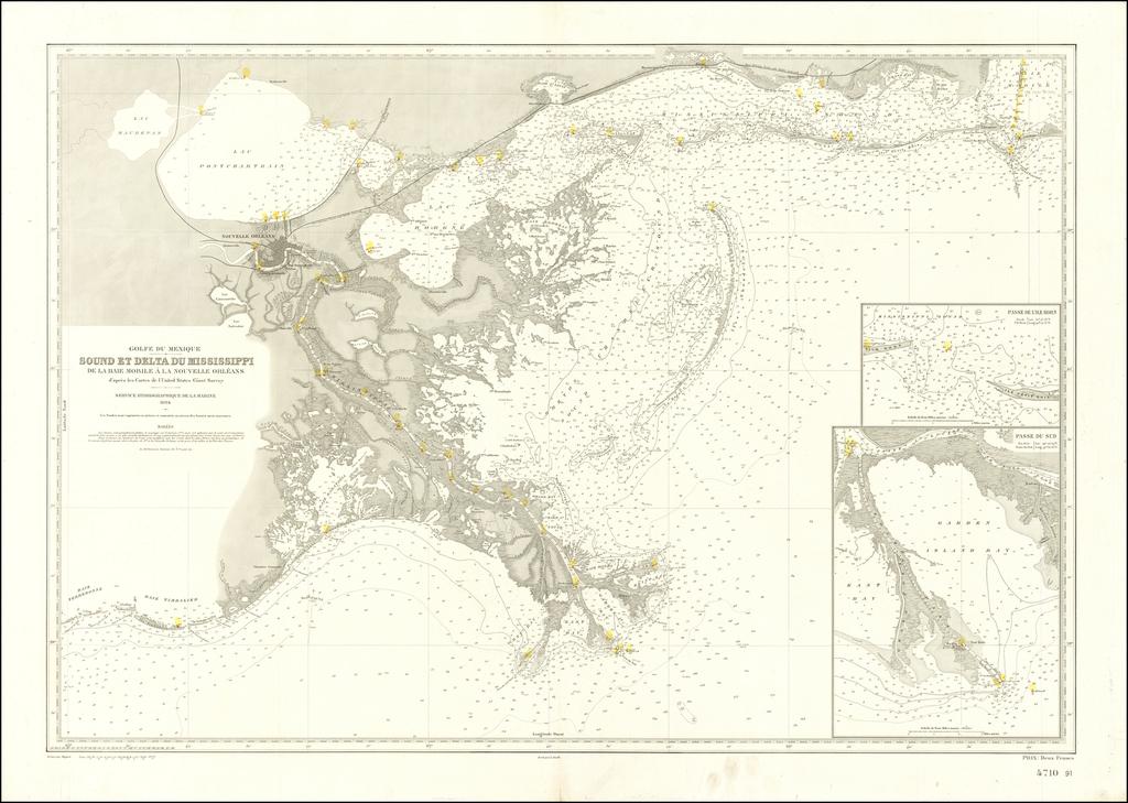 Golfe Du Mexique -- Sound et Delta Du Mississippi De La Baie Mobile a la Nouvelle Orleans d'apres les Cartes de l'United Staets Coast Survey . . . 1894 By Service Hydrographique dela Marine