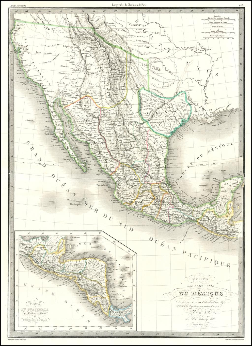 Carte Des Etats-Unis Du Mexique…1838   [Republic of Texas] By Alexandre Emile Lapie