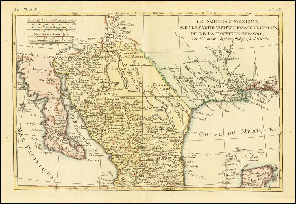 Le Nouveau Mexique, Avec La Partie Septentrionale De L'Ancien, ou De La Nouvelle Espagne By Rigobert Bonne