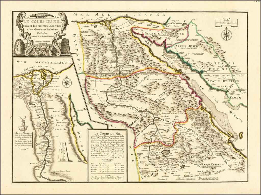 Le Cours Du Nil, Suivant les Auteurs Modernes et les dernieres Relations . . . 1720 By Nicolas de Fer