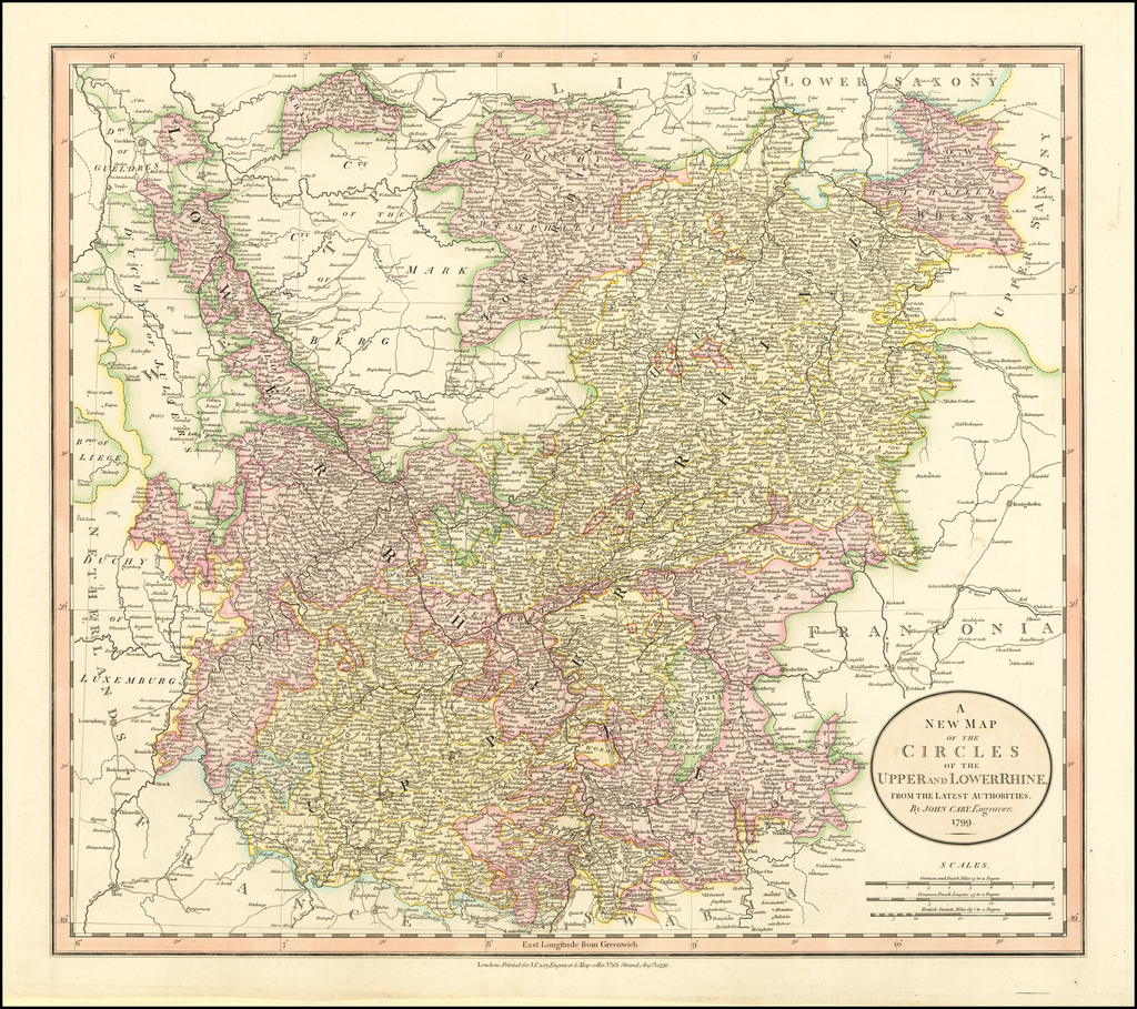 A New Map of the Circles of the Upper and Lower Rhine... 1799. By John Cary