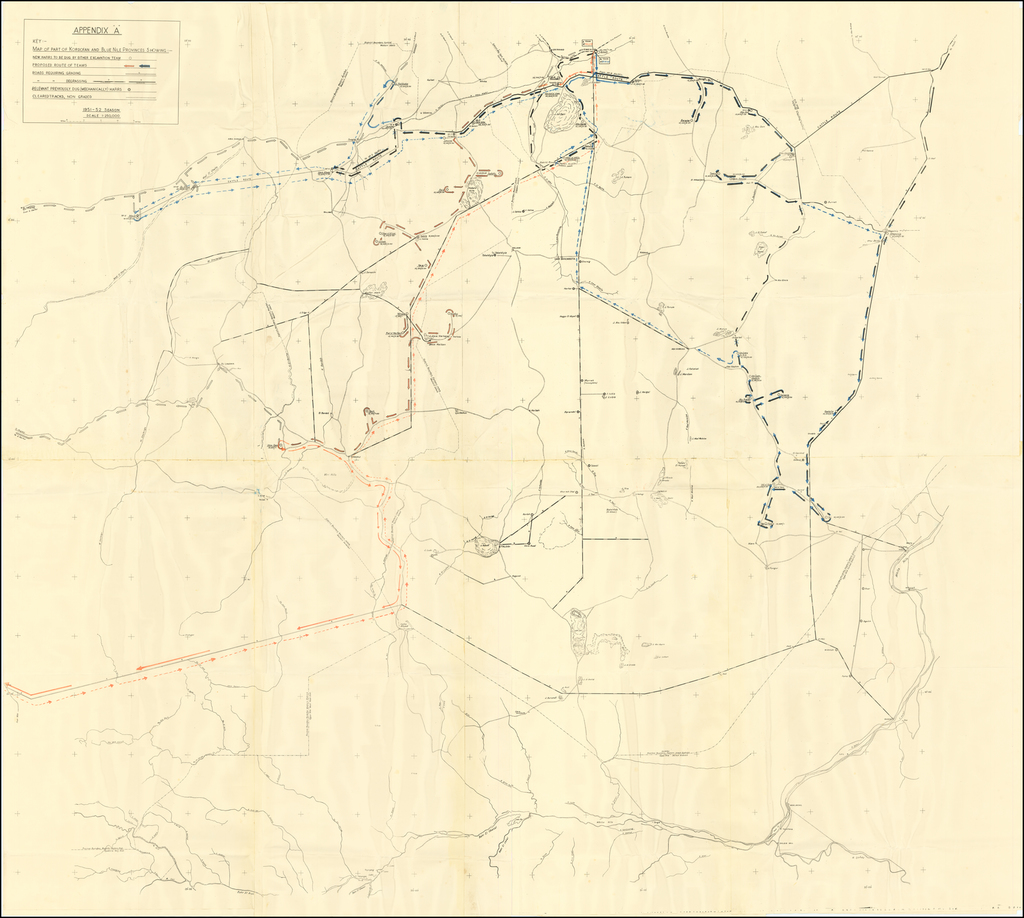 [British Colonial Public Works in Sudan -- 4 Maps showing Sudanese Hafir Construction in Kordofan -- Public Water Collection Projects] By Soil Conservation Office
