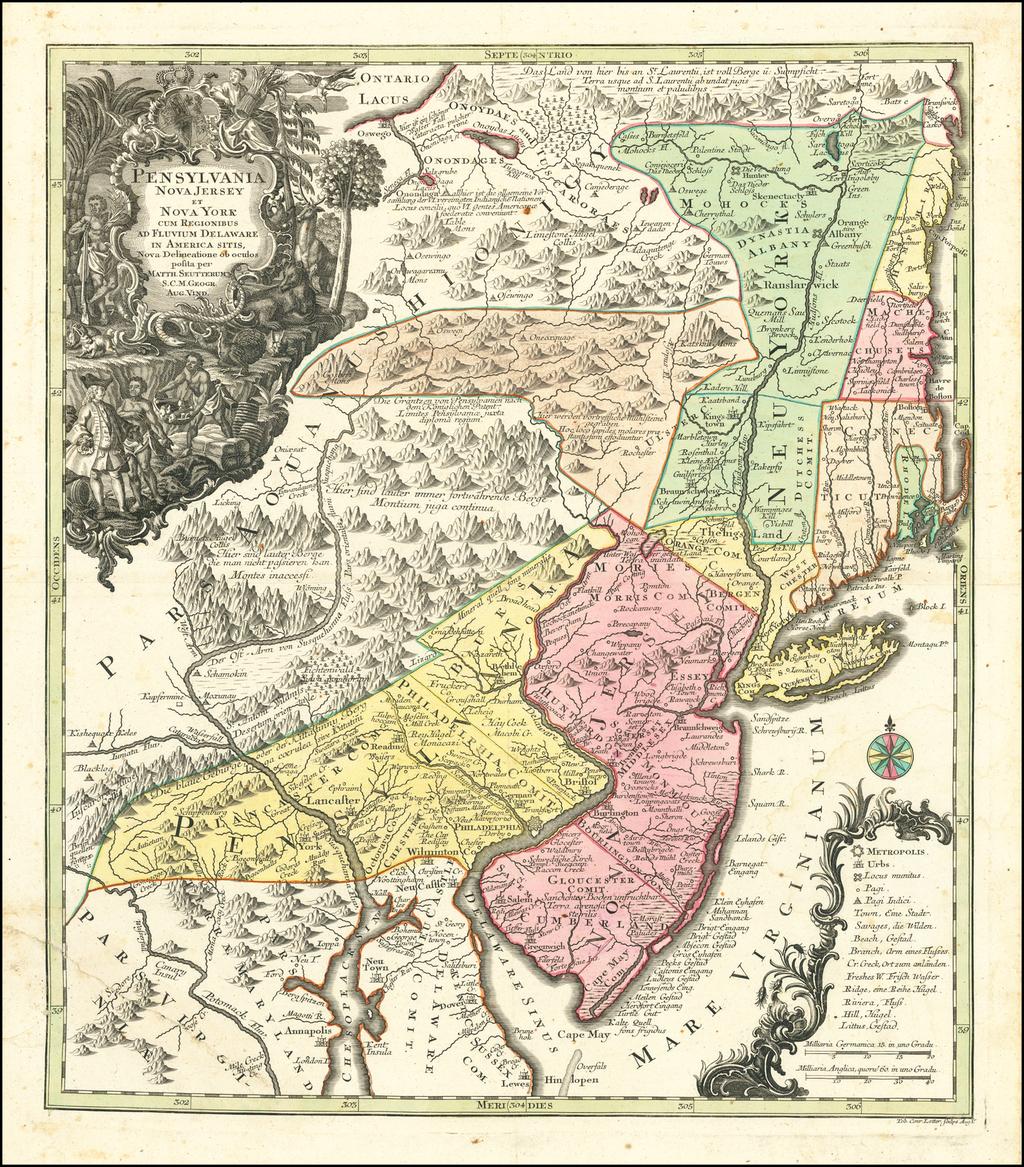 Pensylvania Nova Jersey et Nova York cum Regionibus Ad Fluvium Delaware In America Sitis, Nova Delinatione ob oculos posita . . . By Matthaus Seutter