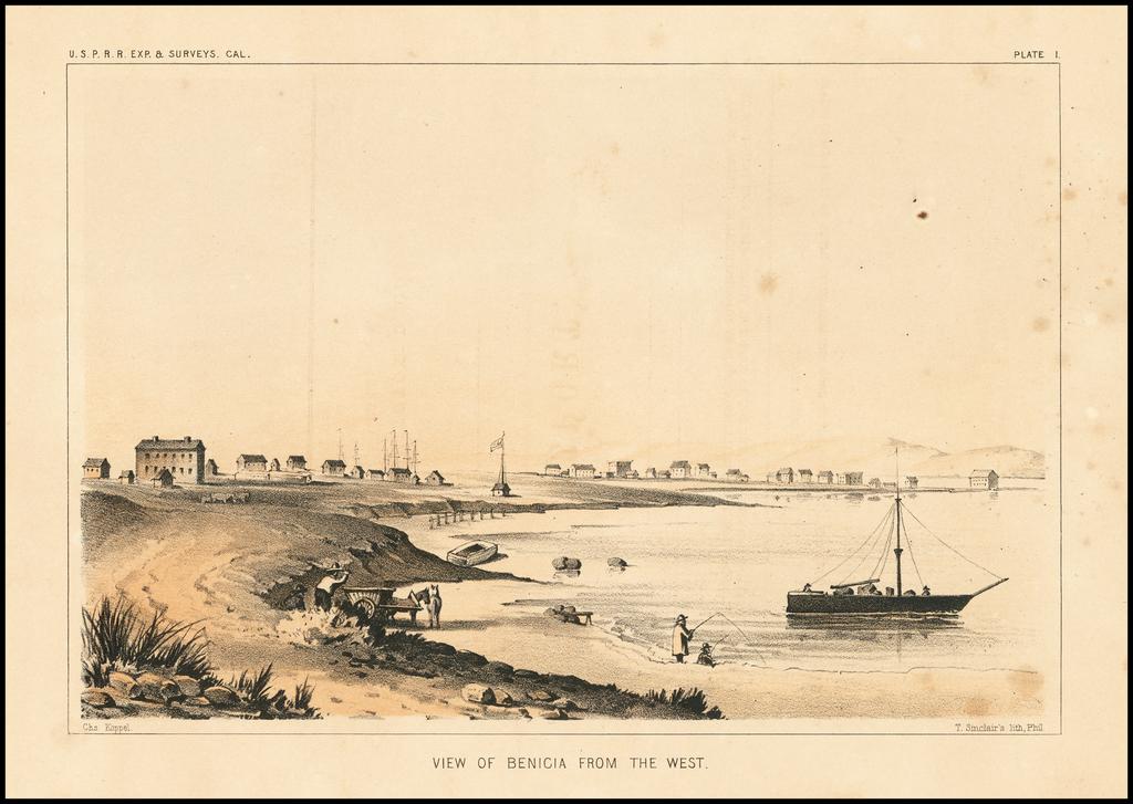 View of Benicia From The West By U.S.P.R.R. Exp. & Surveys