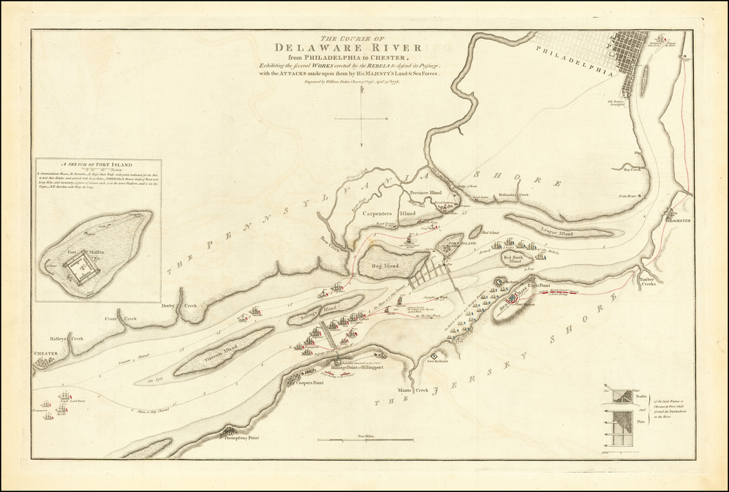 The Course of Delaware River from Philadelphia to Chester, Exhibiting the several Works erected by the Rebels to defend its Passage, with th Attacks made upon them by is Majesty's Land & Sea Forces . . . 1778 By William Faden