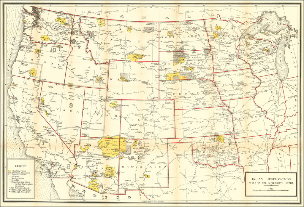 Indian Reservations West of the Mississippi River -- 1919 By U.S. Geological Survey