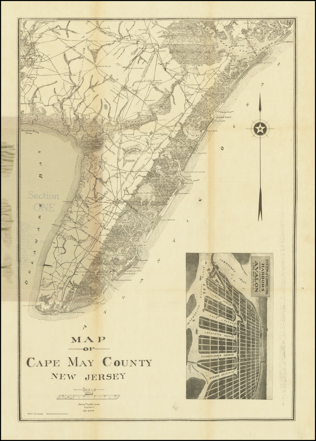 A Map of Cape May County New Jersey . . .  Jan 3, 1912 By Hand & Stevens