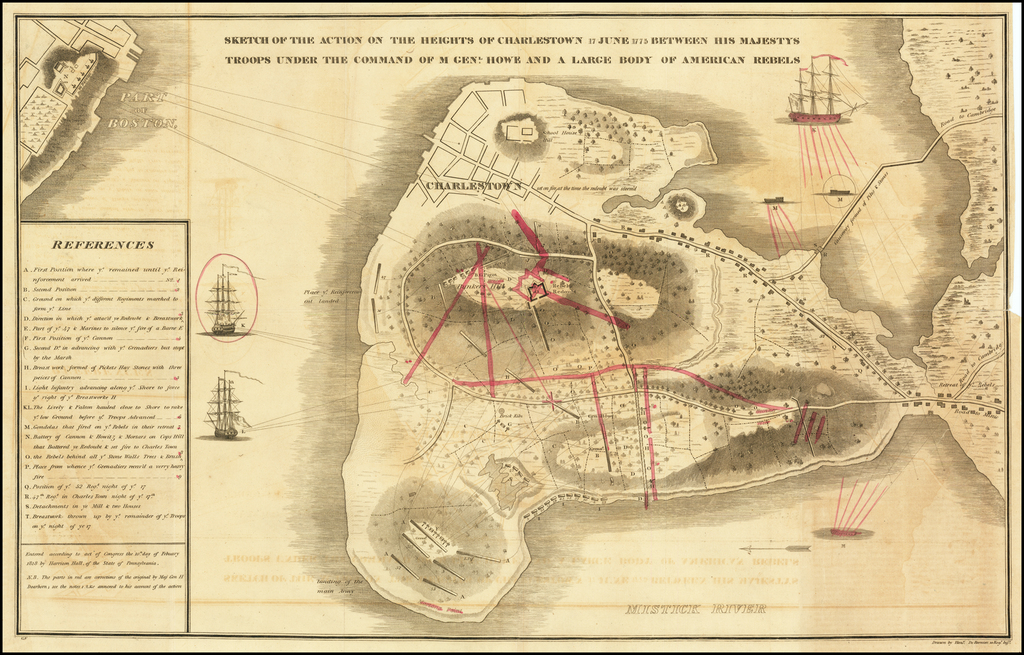 Sketch of the Action on the Heights of Charlestown 17 June 1775 Between His Majestys Troops Under the Command Of M. Genl. Howe and a Large Body of American Rebels By Henery De Berniere / Harrison Hall